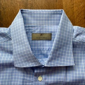 Canali Blue & White Handmade Dress Shirt